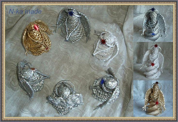 Рождественские ангелы.  Высота 15-16 см