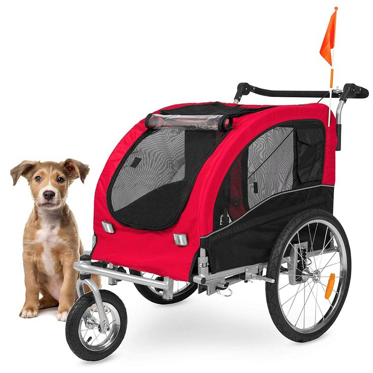 Best Choice Products 2in1 Pet Stroller and Trailer, Red