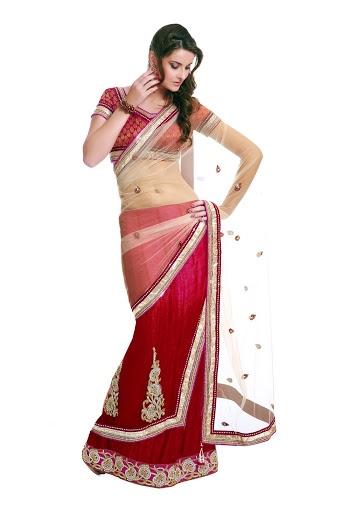 Designer Party Wear Net & Georgette & Jacquard Saree. 6215 INR