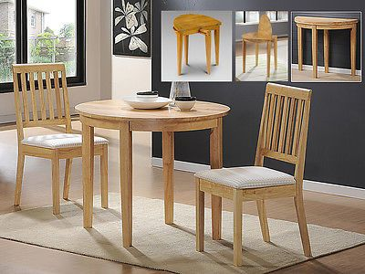Solid Wood Dining Table Round Drop Leaf Extending 2 Dining Chairs Natural. Small  Kitchen ...