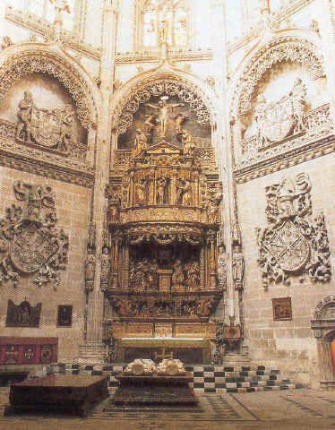 """F. Bigarny y D. Siloe. Retablo de la Capilla del Condestable, 1523, (Catedral de Burgos). Nueva tipología, gracias a su asociación con D. Siloe.  Ahora su obra entronca más con los ideales renacentistas.  Frente al manierismo d Berruguente, Birgany fue un gran clasicista.  Rechazo de la tipología de retablo compartimentado a favor de una gran abertura central con grupos de figuras clásicas y proporcionadas. La escena de """"La presentación en el Templo"""" de las mejores del clasicismo español."""