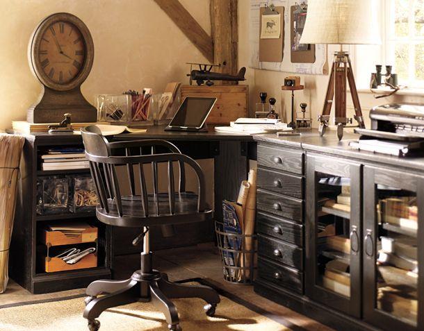 masculine home office via pottery barn.com