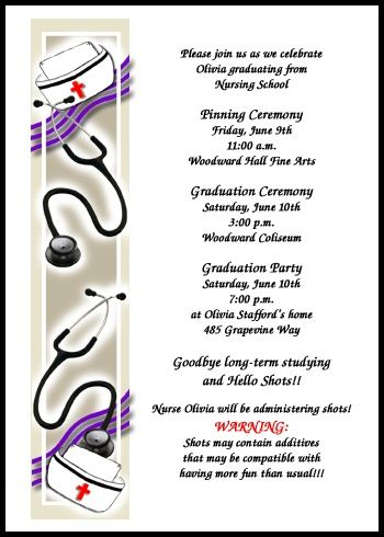 One Of Many Pinning Ceremony Invitations For Nursing School