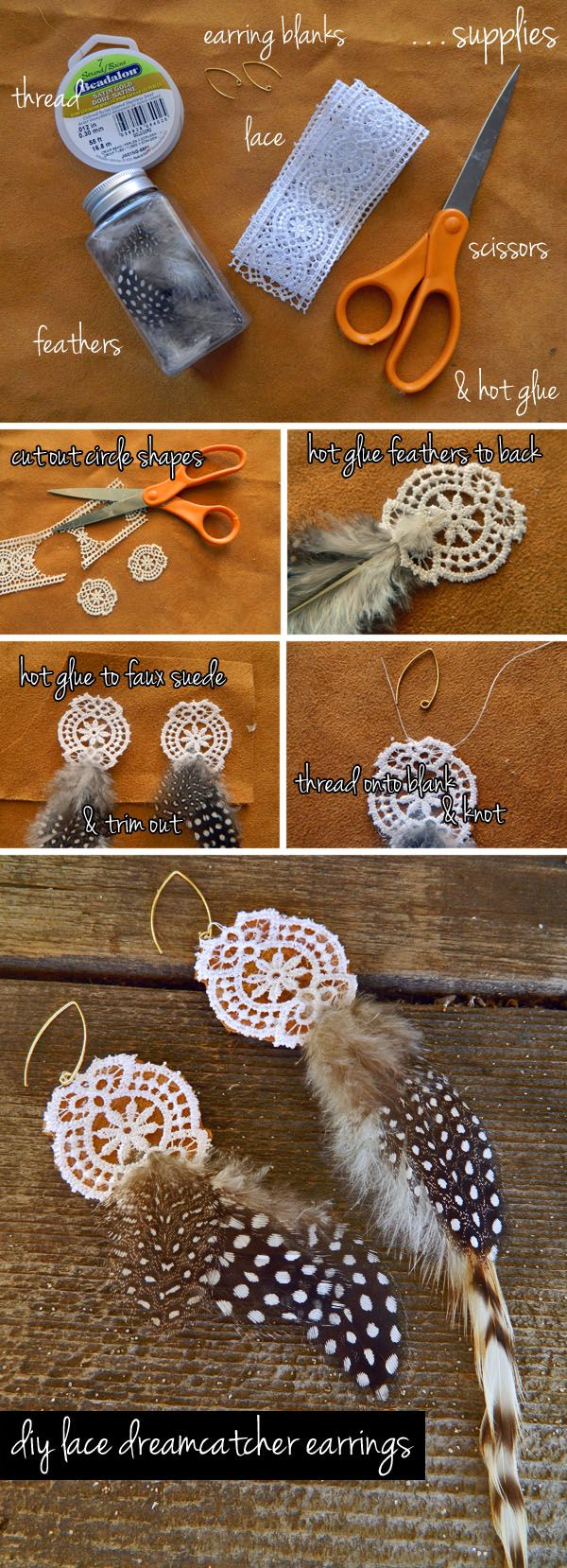 diy lace dream catcher earrings