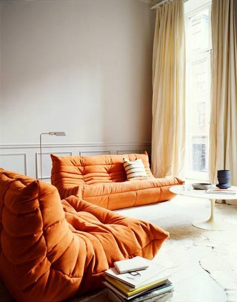 Living room / Togo / orange / vintage