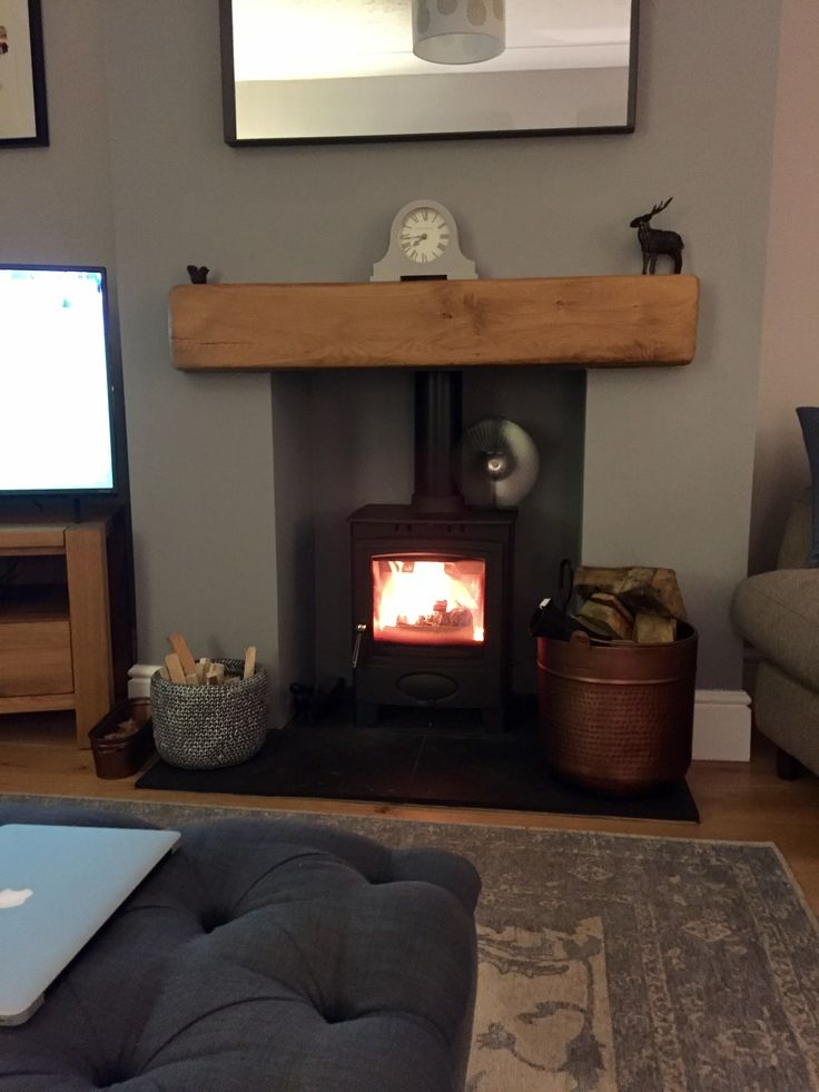 Wood Burner Stove Fire With Black Slate Hearth And Solid