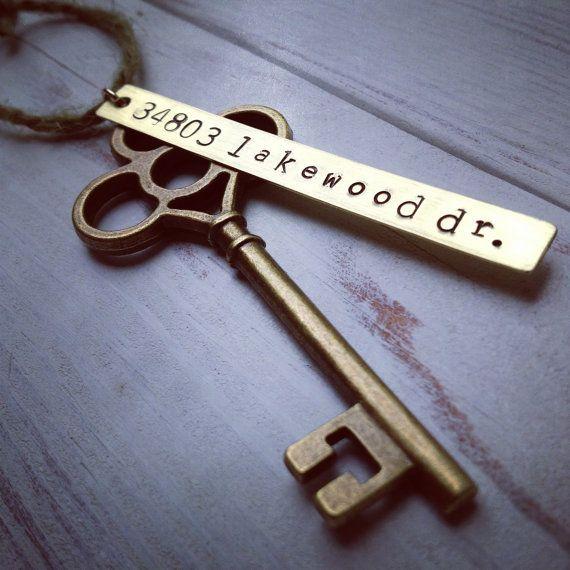 New Home Ornament - Custom Hand Stamped First House Address Skeleton Key - Personalized Housewarming Gift - Key Tag -Wedding Gift - Keepsake