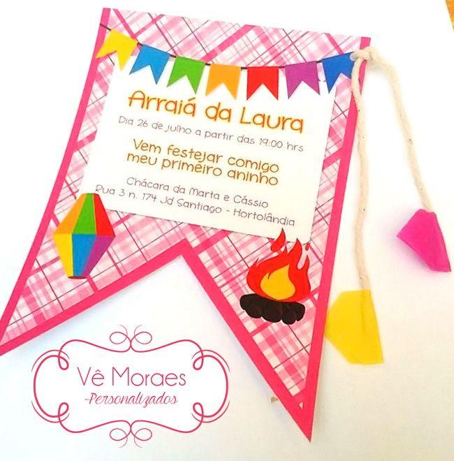 Convite bandeirinha festa junina
