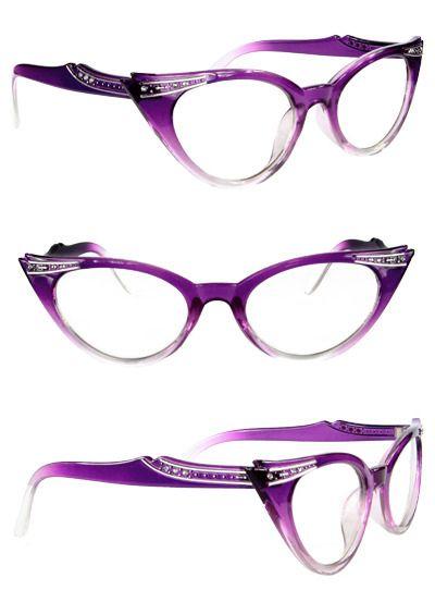 Restyle Purple Cats Eye Rhinestone 50's Glasses Lens Pinup Rockabilly - LOVE <3