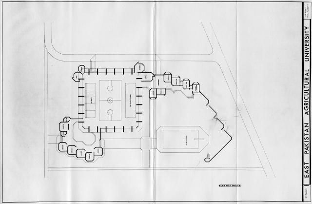 Bangladesh (formerly East Pakistan) Agricultural University, Mymensingh, Bangladesh. Gymnasium. Floor Plan. Rendering | Paul Rudolph & His Architecture