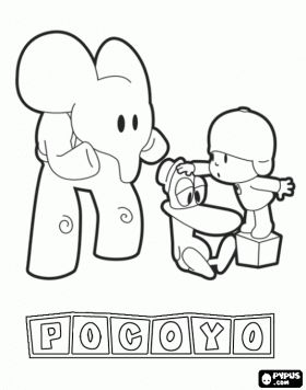 Pocoyo coloring pages. I don't know what it is, but I love the elephant's expression!