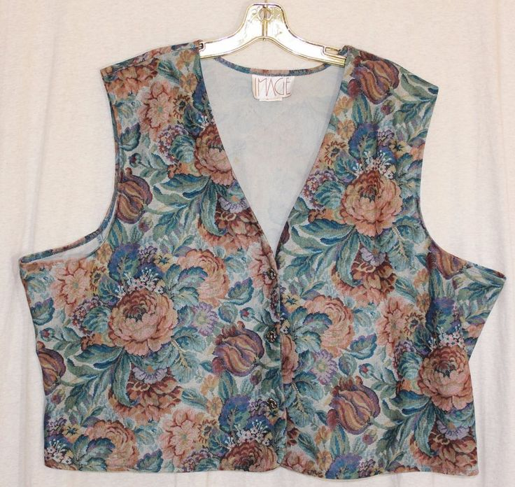 Vintage Womens Floral 3 Button Vest Plus Size 46 Multi Colored Gold Tone Buttons #Image #Vintage