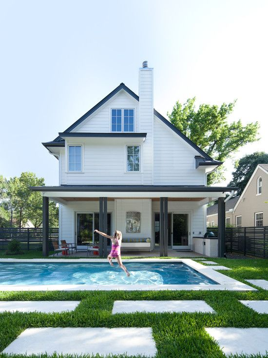 Exterior White Siding Design, An Example Of Painting Some Dark Trim Like On  Posts