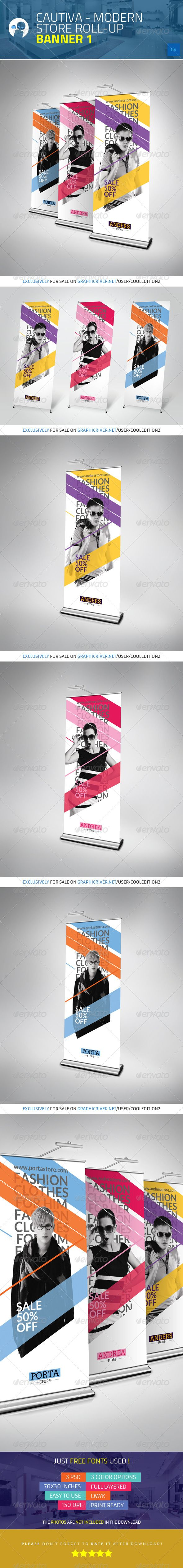 Cautiva  Modern Store  Roll Up Banner 1 — Photoshop PSD #mall #rollup • Available here → https://graphicriver.net/item/cautiva-modern-store-roll-up-banner-1/4635183?ref=pxcr