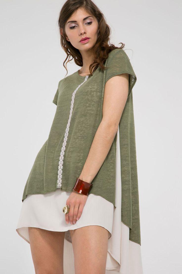 Asymetryczna tunika z krótkim rękawem - khaki/beż