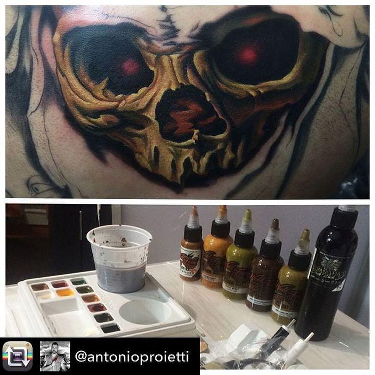 Repost from @antonioproietti     Vanitas Skull...in progress Thanks my sponsor @worldfamousink the best tattoo set up @pro_t_ink tattoo cream @ohanaorganics after care @dermalizepro #tattooskull #backpiece #vanitastattoo #protink #evo #thebesttattooartists #inked #workinprogress #worldfamousink #inkeditaly @tattoomap