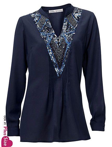 Koop Ashley Brooke - Tuniek met pailletten nachtblauw in de Heine online-shop