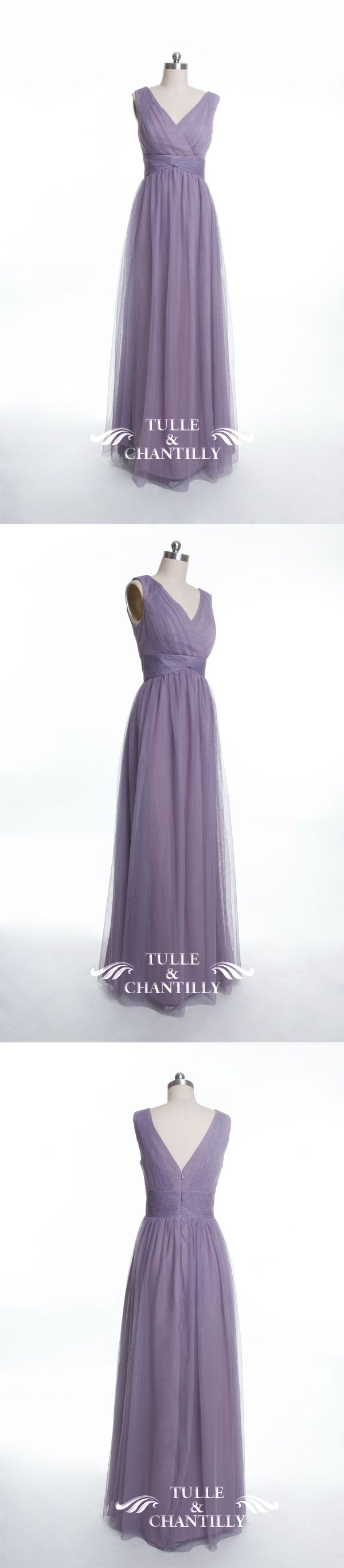 long lavender tulle bridesmaid dresses with v neck