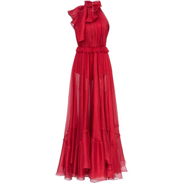 Zyna Mousseline Dress | Moda Operandi ($1,705) ❤ liked on Polyvore featuring dresses, flounce dress, high neckline dress, red ruffle dress, ruffle dress and high neck dress