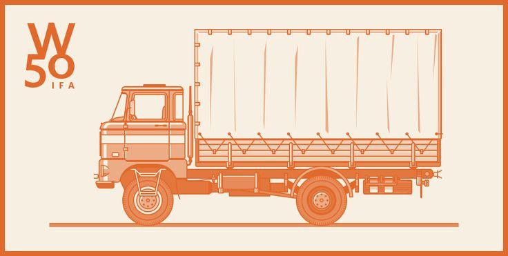 Illustration by Alex Herrmann - http://axelherrmann.com/ #illustration #line #outline #iconic #picto #graphicdesign #truck #transport #vintage #graphic