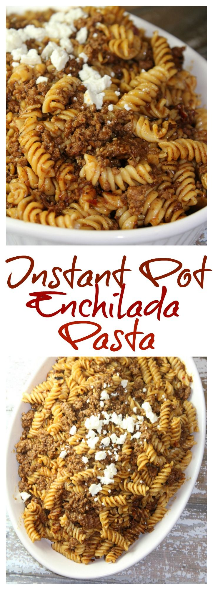 This easy one pot enchilada pasta (Instant Pot) is one of the best instant pot recipes that combines ground beef, pasta, and enchilada sauce.