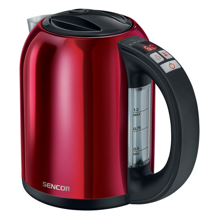 Sencor Smart electric Kettle with temperature control SWK 1274RD - Volume of 1.2 l - Electronic temperature control with setting adjustable - LED display with the current temperature continuously shown