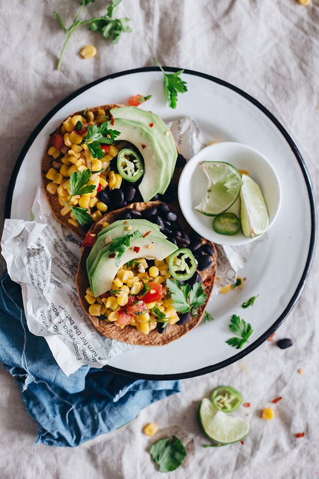 Spicy Black Bean Tostadas with Corn Salsa and Avocado