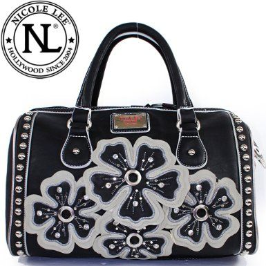 Click Here and Buy it On Amazon.com $59.99 Amazon.com: Nicole Lee Georgina Boston Bag Embroidered Floral Appliqué Adorned with Rhinestones and Studs Metallic and Stud Trim Handbag Purse with Adjustable Shoulder Strap in Black: Clothing