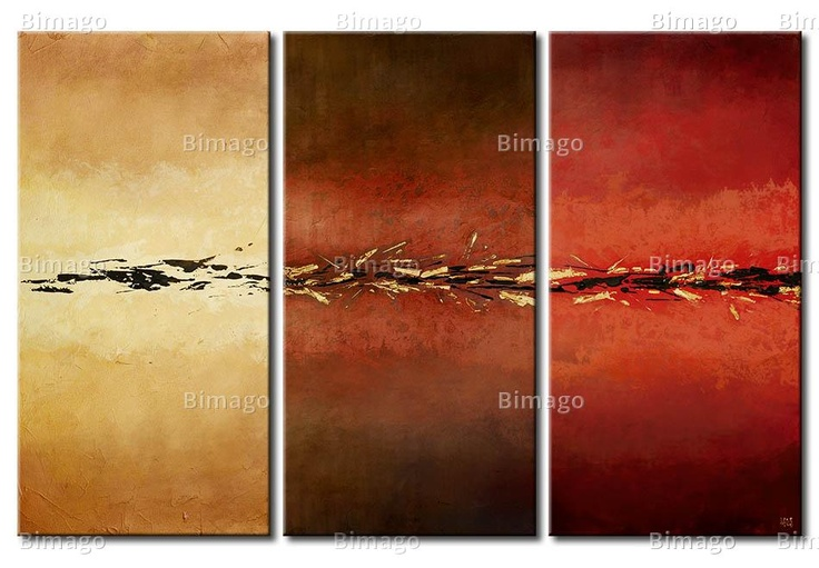 Quadro Astratto scuro - colori autunnali // Fall colors on a painting, abstract canvas art, 3 pieces