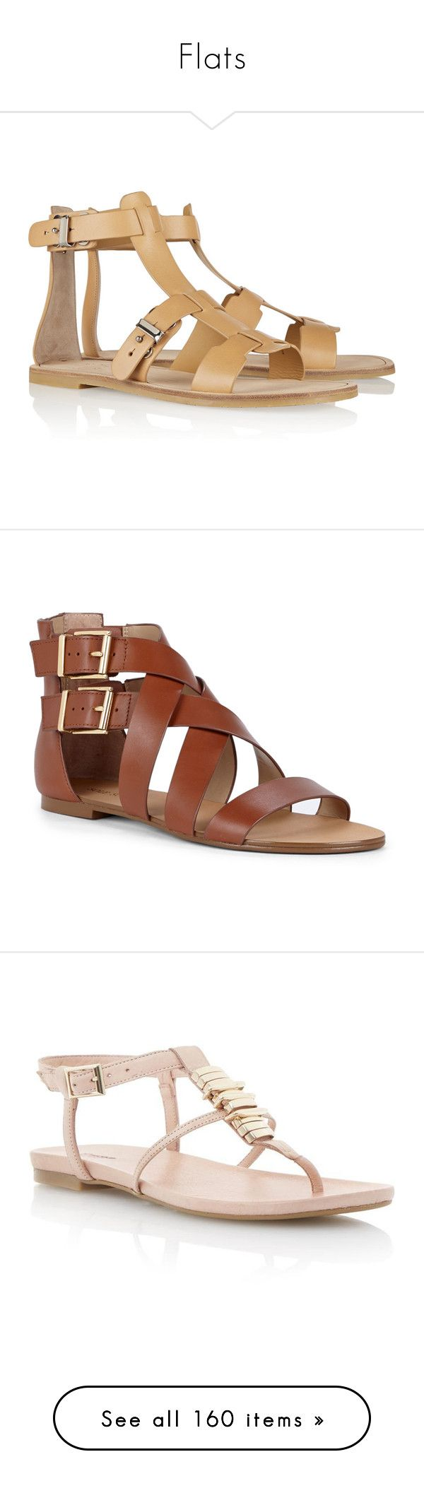 """""""Flats"""" by girlwithherheadintheclouds ❤ liked on Polyvore featuring shoes, sandals, flats, gladiator sandals, leather gladiator sandals, leather flats, gladiator flats sandals, tan flats, equestrian tan and gladiator sandals shoes"""