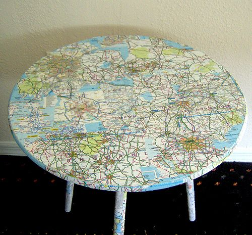 Got this from the re-nest webpage. This is awesome! We would like to do something similar for our house only with an antique map of the Inside Passage (Southeast Alaska where my husband and I are from). Love finding ways to reuse items we have around the house!