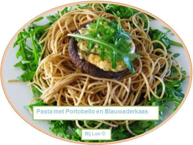 Pasta met Portobello en Blauwaderkaas