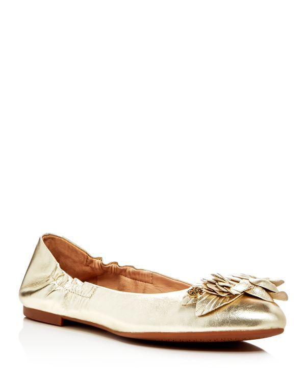 Tory Burch Blossom Metallic Ballet Flats