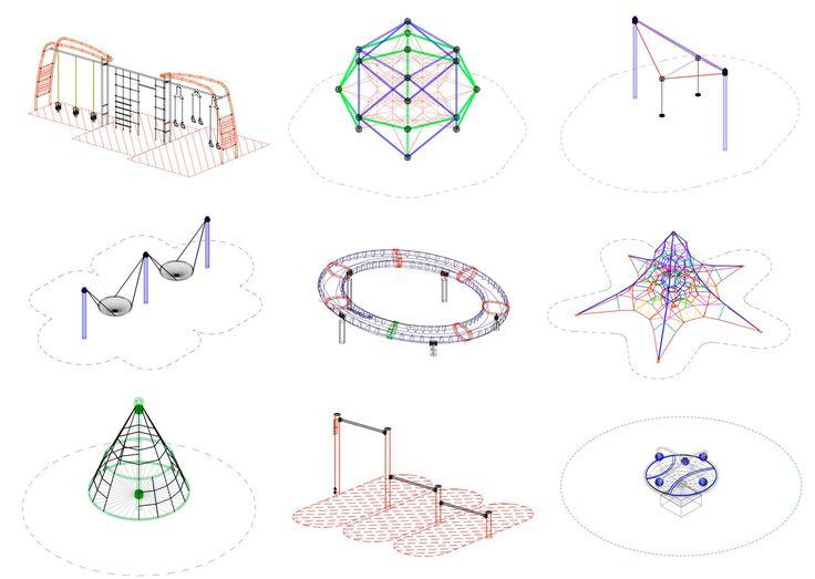 Baixe arquivos CAD para teu projeto: parques infantis e equipamentos para espaço público | ArchDaily Brasil