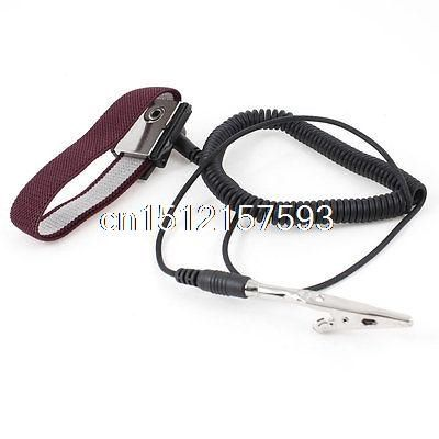 4.16$  Watch here - http://ali3kh.shopchina.info/go.php?t=32538050553 - Electronic Alligator Clip Black 55cm Coil Cable Antistatic Wrist Strap 4.16$ #buymethat