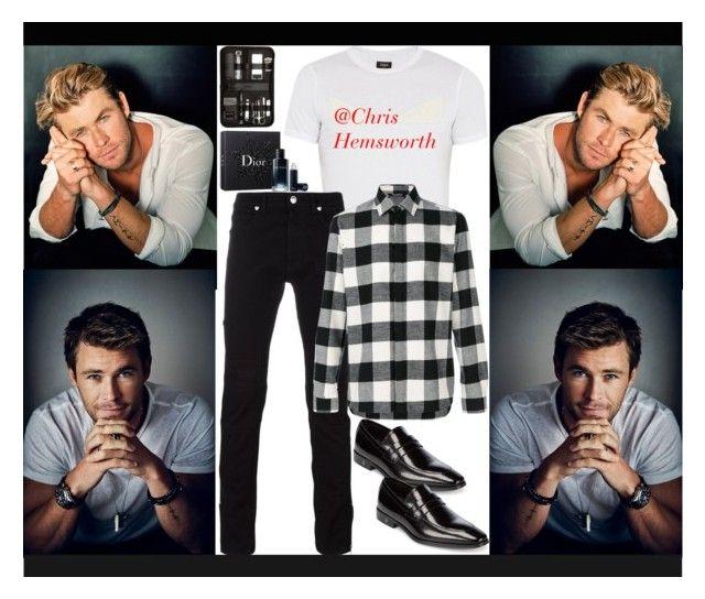 """#Chris Hemsworth is Dark Steel!"" by nefertiti1373 on Polyvore featuring Versace, Christian Dior, Fendi, Neil Barrett, Bey-Berk, men's fashion, menswear, Avengers and famousfaces"