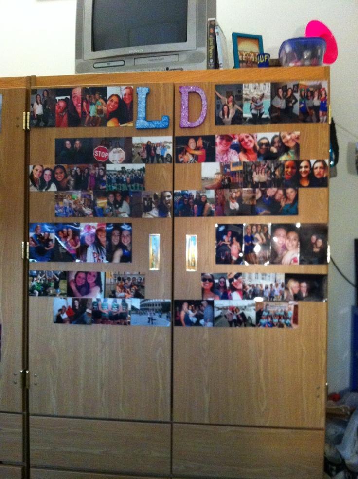 College dorm picture wall, I am sooooooo doing this to my coset door in my dorm room!