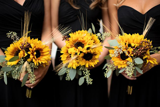 LOVE the sunflower bouquets An Oh-So Elegant Lake Lucerne Wedding - Fab You Bliss