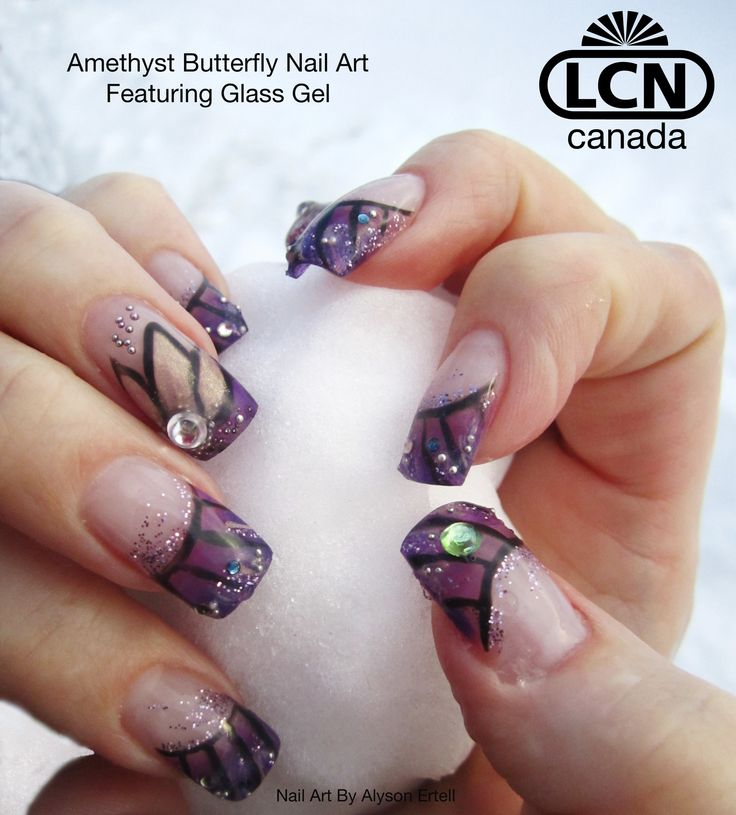 13 best lcn glass gel nail art images on pinterest gel nail gel amethyst butterfly nail art by alyson ertell prinsesfo Image collections