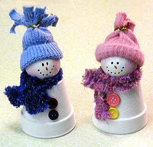 Mini Clay Pot Crafts | Clay Pot Snowmen Created by Amanda Formaro This darling snowman and ...