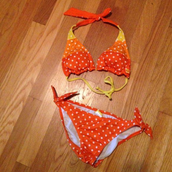 Orange billabong bikini!  Adorable orange polka dot bikini. Top is reversible!! Billabong Swim Bikinis