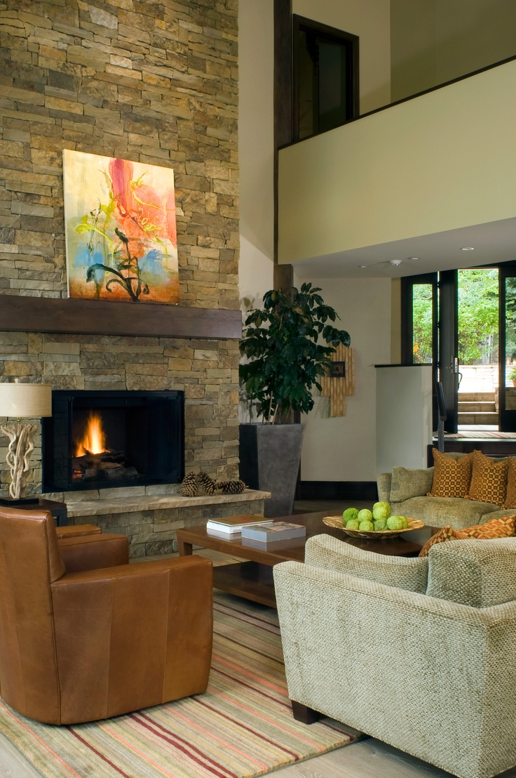 Stack-stone fireplace