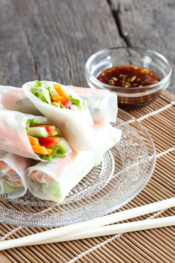 Crunchy And Light Rice Paper Rolls Filled With Fresh Vegetables And Served With A Soy
