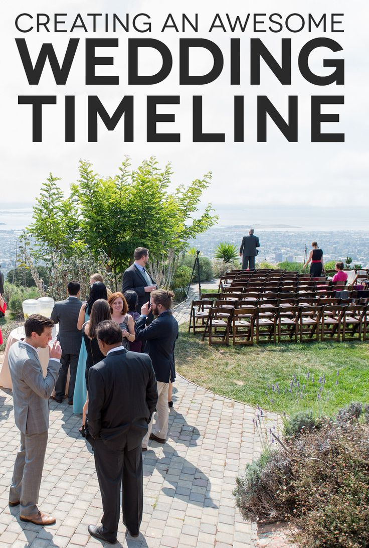 Guests mingling before a wedding with the text: creating an awesome wedding timeline