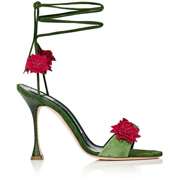 Manolo Blahnik Women's Xacactus Textured Leather Ankle-Tie Sandals ($469) ❤ liked on Polyvore featuring shoes, sandals, green, embellished sandals, ankle wrap sandals, green high heel sandals, green high heel shoes and high heels sandals