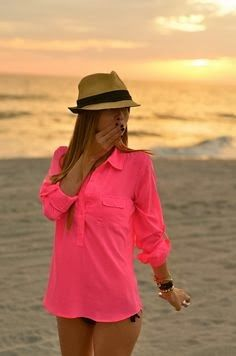 Hot pink shirt for the beach
