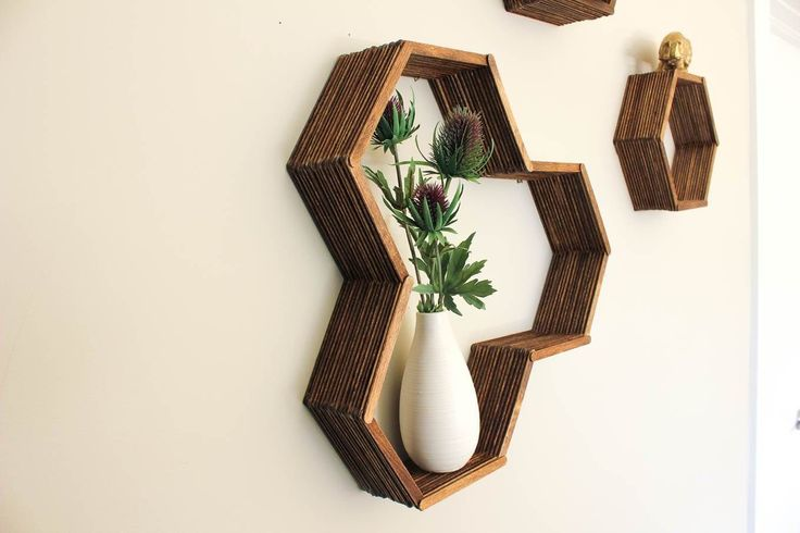 DIY honeycomb shelves using Popsicle sticks... This looks great!