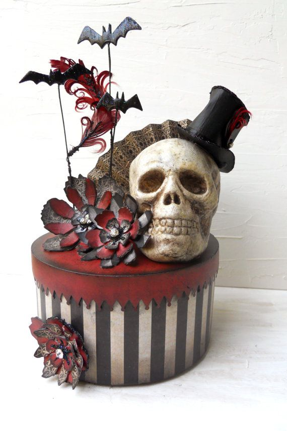"""Steampunk circus skull box: """"Something wicked this way comes"""" scrolled on the bottom"""