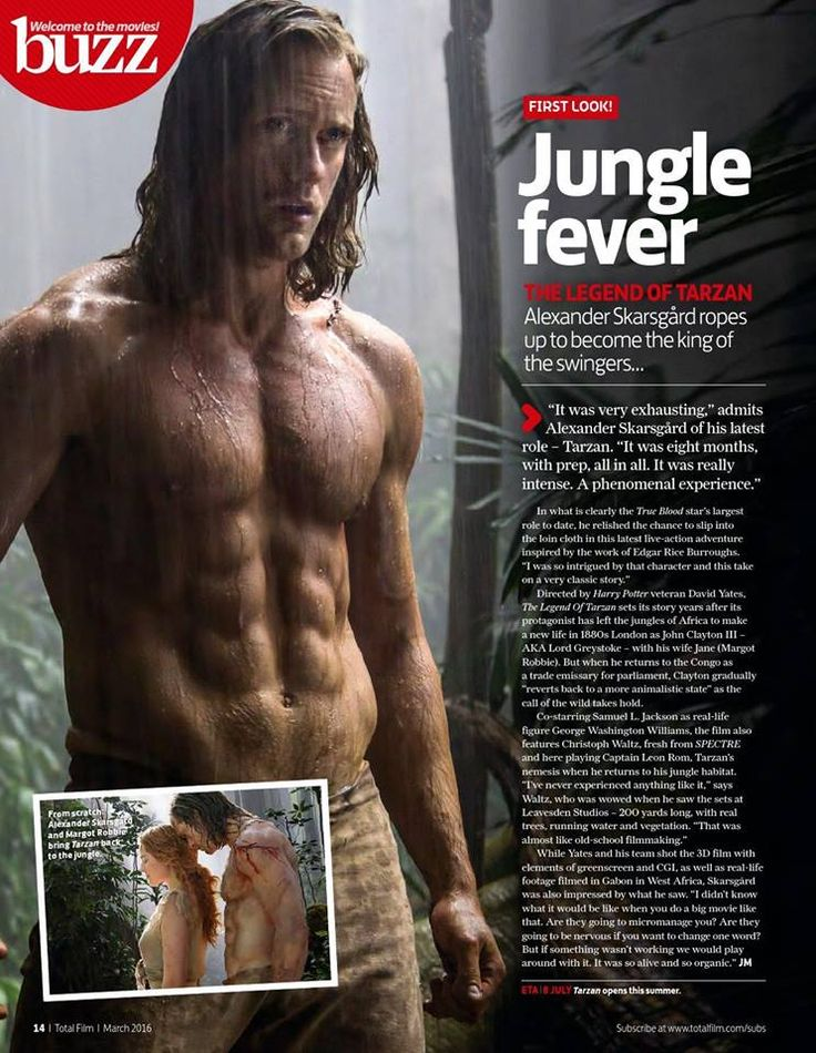 Alexander Skarsgård is in the March 2016 issue of TOTAL FILM (UK) for the THE LEGEND OF TARZAN