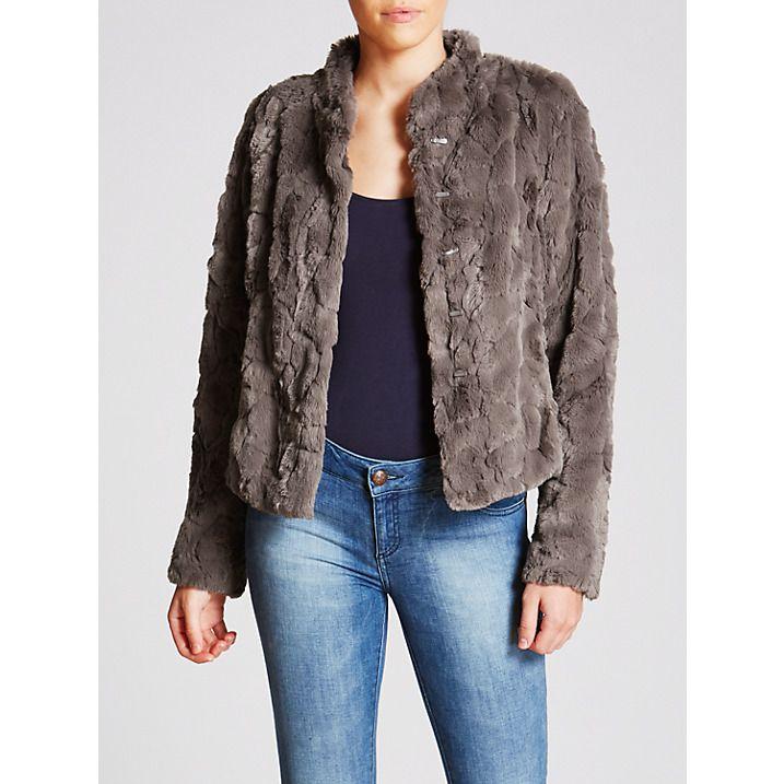Buy Gerry Weber Faux Fur Jacket, Dark Taupe, 10 Online at johnlewis.com